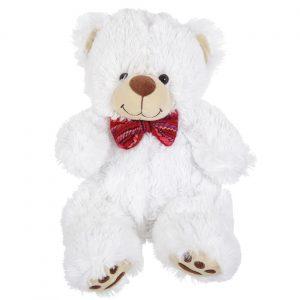 Beli medved sa crvenom mašnicom 33 cm